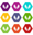 angel wing icons set 9 vector image vector image