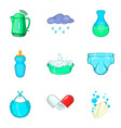 baby care icon set cartoon style vector image vector image