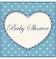 Baby shower with heart blue vintage vector image
