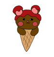 bear chocolate on ice cream vector image