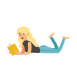 beautiful young blonde woman lying on the floor vector image vector image