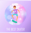 best scater boy poster with teenager boy skating vector image vector image