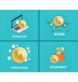 bitcoin set - coins wallet secure vector image vector image