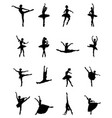 black silhouettes ballerinas vector image vector image