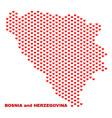 bosnia and herzegovina map - mosaic of love hearts vector image vector image