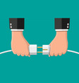 businessmen hold plug and outlet in hand vector image vector image