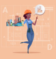 cartoon female builder holding small house ready vector image vector image