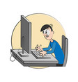 cartoon man happy with computer vector image
