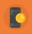 cell smart phone with coin contactless mobile vector image