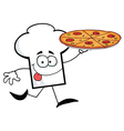 Chef Hat Guy Carrying A Pizza vector image vector image
