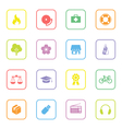 colorful web icon set 6 with rounded rectangle fra vector image vector image