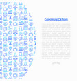 communication concept with thin line icons vector image
