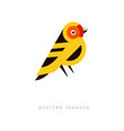 creative geometric icon of western tanager bird vector image