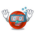 diving mars planet character cartoon vector image