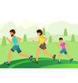 family jogging in park concept happy vector image vector image