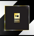 gold shiny square frame on black and white vector image vector image