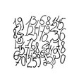 hand drawn numbers to ten vector image vector image