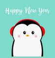 happy new year penguin head face red headphones vector image vector image