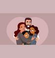 happy smiling multi ethnic family vector image