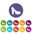 High heel shoes set icons vector image