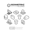 isometric outline icons set 3 vector image