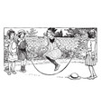 jumping rope vintage vector image vector image