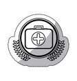 monochrome sticker with firts aid kit with symbol vector image vector image