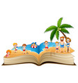 open book with group of people vacation on a beaut vector image