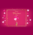 pink board with gold border and valentines day sal vector image vector image