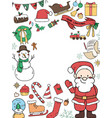 round frame of christmas decorations vector image