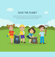 save planet banner landing page template vector image