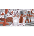 Scene with pipes and cables underground vector image