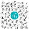 set of hand drawn calligraphy letter h vector image