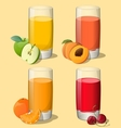 Set of juices in glass vector image