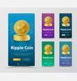 set of vertical banners with gold coin crypto vector image