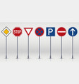 set road signs isolated vector image vector image