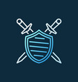 shield with crossed swords creative outline vector image vector image