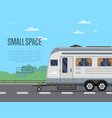 small travel space poster with camping trailer vector image vector image