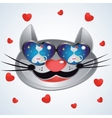 Smiling muzzle cat with glasses vector image vector image