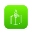 square candle icon green vector image vector image
