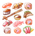 sushi and rolls hand drawn food set vector image