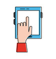 tablet and hand touching screen icon image vector image