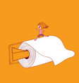 the girl is running on toilet paper toilet paper vector image