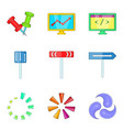 turn arrow icons set cartoon style vector image vector image