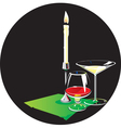 Two glasses and candle vector image vector image