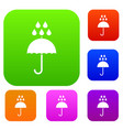 umbrella and rain drops set collection vector image vector image