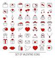 valentine icons set valentine icons set vector image