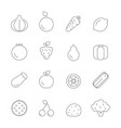 various icons of fruits and vegetables vector image vector image
