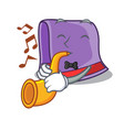 with trumpet towel on the wooden rack character vector image
