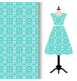 women dress fabric with blue pattern vector image vector image